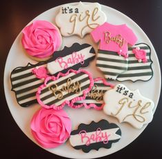 A personal favorite from my Etsy shop https://www.etsy.com/listing/276547650/kate-spade-inspired-baby-shower-cookies