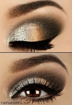 Glitter golden smokey eyes makeup look with eyeliner - beautiful date night makeup