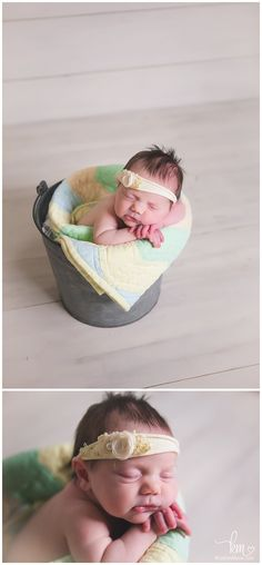newborn in a bucket - newborn girl with quilt in a bucket - baby in a basket