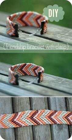 """Friendship bracelet with clasp . . . great idea!! Makes it look more """"grown-up"""" . . . and I always did love making these"""