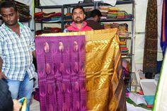Artisan showcases the hand woven Gadwal sari at  Stalls, Hand Weaving, Artisan, Sari, Fashion, Saree, Moda, Hand Knitting, Fashion Styles