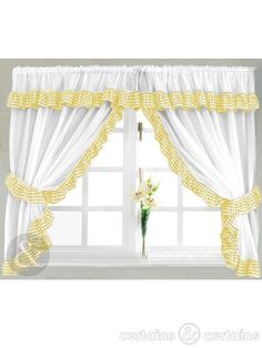Black and Yellow Kitchen Curtains   Gingham Check Yellow & White Kitchen Curtain - Curtains UK