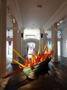 Dale Chihuly glass filled boat, Halcyon Gallery London Old Bond St.