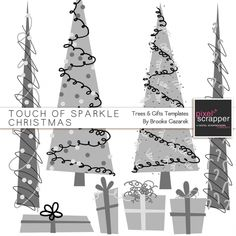 Touch of Sparkle Christmas Trees and Gifts/ presents Templates Kit*