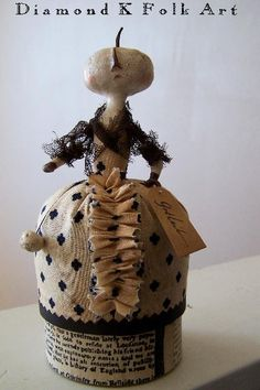 pumpkin doll container from Diamond K Folk Art on Etsy.com