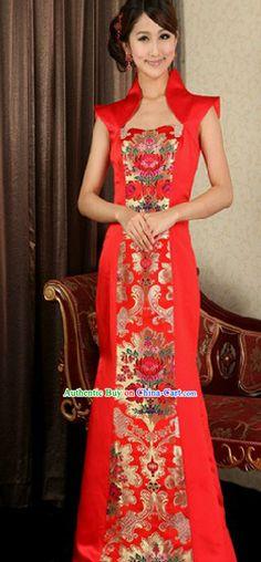 Chinese Classic Long Wedding Evening Dress