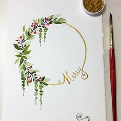 I cannot help it, these colors are what I need right now, but I always love sparkly gold. Watercolor Border, Gold Watercolor, Wreath Watercolor, Easy Watercolor, Watercolor Cards, Watercolor Flowers, Watercolor Paintings, Watercolors, Watercolor Christmas Cards