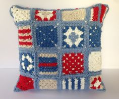 Nautical crochet cushion cover.Granny square by Jayneanncrochet