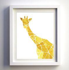 Mustard Yellow Golden Yellow Geometric Giraffe Art Print, Giraffe Silhouette, African Wall Decor Art Asian Wall Art, Kids Wall Art Safari