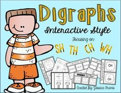 These fun and easy-prep activities are perfect for your kiddos if you are using interactive notebooks!  The packet covers the SH, CH, TH, and WH digraphs.    You can print on white paper, colored paper, use a journal, or even construction paper and your students will become engaged!