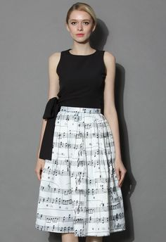 Dance With Music Notes Pleated Midi Skirt - Retro, Indie and Unique Fashion
