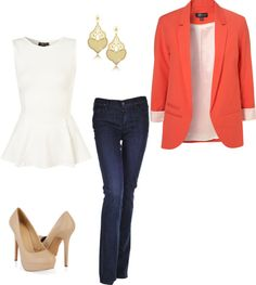 orange blazer, whit peplum top, nude pumps, thin jeans, gold earrings