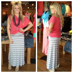 We love these comfy maxi skirts- $50! Paired with a LNA tee and Akola Project necklace. Available at SteamRoller Blues
