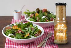 A really light and tasty salad which makes a lovely starter for an al fresco meal. Ballymaloe Honey and Mustard Dressing contrasts really well the Parma ham and the addition of peach gives that summery touch. Ready in only 5 minutes, too.  #salad #saladdressing #honey #mustard #irish #ham #peach #quickmeal Honey Dressing, Mustard Dressing, Salad Dressing, Parma Ham, Honey Mustard, Quick Meals, Fresco, Irish, Salads