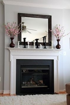 Stonington Grey paint color with the white mantel and black accents