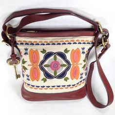 Fossil-Vtg-Reissue-Embroidered-Canvas-Brown-Leather-Crossbody-Purse-STRAP-DAMAGE