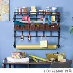 Holly & Martin Olivia Wall-Mount Craft Storage Rack w/ Baskets-Black By Holly…