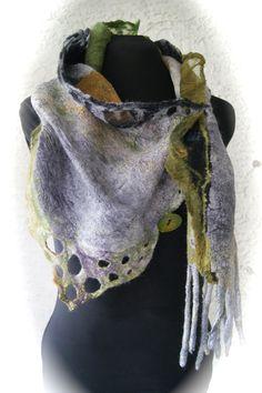 Nuno Felted scarflette a SugarPlum Original от sugarplumoriginals Nuno Felt Scarf, Felted Scarf, Creative Textiles, Cool Outfits, Fashion Outfits, Diy Scarf, Felting Tutorials, Nuno Felting, Felt Art