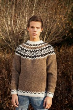 DIY kit | Icelandic sweater in brown/tan unisex teen adult // Knit your own pullover lopapeysa sweater jumper with Ístex lett lopi yarn!