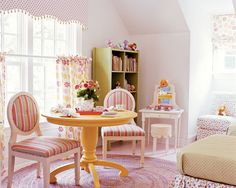 Light, airy and girly. Chairs. Polka dots.