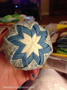 Christmas Ornament: Styrofoam ball + Fabric + Glue + Ribbon | Free Pattern Friday – Quilted Christmas Ornaments (no sew) | Katie's ...