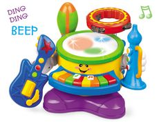 (18m - 3y) toddlers can tap out beats and melodies on the easy-play drum and keyboard or detach 4 more fun instruments to shake, rattle, and jam. #ttgo