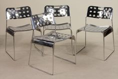 Four Omkstak Steel Stacking Chairs, Rodney Kinsman