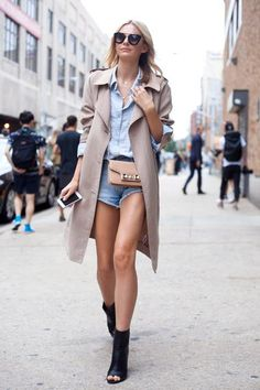 #trenchcoat #short #jeans