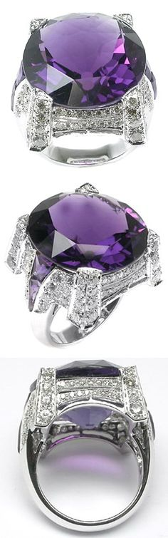 7.99ct Oval Cut Amethyst Diamond 14k White Gold Ring. This is a lovely 7.99ct…