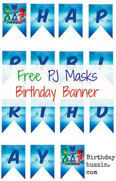 Free Printable PJ Masks Birthday Banner