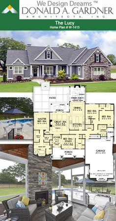 Great room of The Lucy house plan 1415 2239 sq ft 4 Beds 3 Baths Sims House Plans, Beach House Plans, Family House Plans, Cottage House Plans, Craftsman House Plans, Country House Plans, New House Plans, Dream House Plans, Modern House Plans