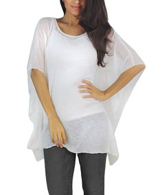 Look what I found on #zulily! OhConcept Collection White Sheer Cape-Sleeve Top by OhConcept Collection #zulilyfinds