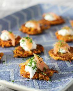 Sweet Potato Latkes with Greek Yogurt and Smoked Salmon.