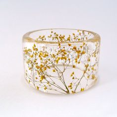 Yellow  Botanical Resin Bangle.  Chunky Bangle with Pressed Flowers.  Yellow Baby's Breath.  Personalized Jewelry.  Custom Engraved.