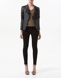 Im obsessed with this ASYMMETRIC LEATHER JACKET WITH DETAILING ON THE SHOULDER - Blazers - Woman - New collection - ZARA United States