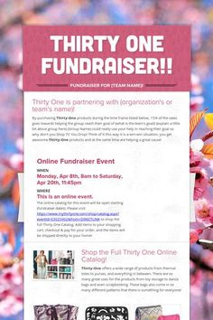 One Fundraiser! Email me if your interested in hearing more. Thirty One Party, Thirty One Gifts, Thirty One Organization, Life Organization, Thirty One Uses, Fundraising Events, Fundraising Ideas, Direct Sales, Direct Selling