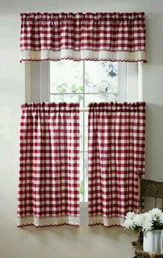 Buffalo Check Primitive Country Curtains Going to make these for the sunroom just a different color! Country Kitchen Curtains, Shabby Chic Kitchen, Cute Curtains, Drapes Curtains, Valances, Primitive Kitchen, Country Primitive, Buffalo Check, Country Kitchen Designs