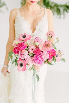 Summer Wedding Dresses Bridal Inspiration with a Must-See Pink Bouquet Perfect Wedding Dress, Dream Wedding Dresses, Bridal Dresses, Bridesmaid Dresses, Prom Flowers, Bridal Flowers, Wedding Bride, Floral Wedding, Ribbon Wedding