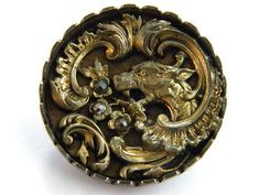 Antique Vintage Brass Metal Picture Button Cut Steel Old Picture Dragon Wood | eBay