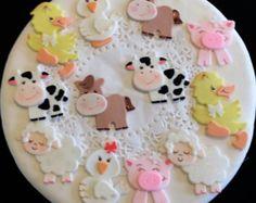 Farm baby shower, cute baby animals farm, farm first birthday, farm Farm Animal Cupcakes, Animal Cakes, Farm Animal Birthday, Farm Birthday, Birthday Cake, Jungle Theme Cakes, Cowboy Cakes, Baby Farm Animals, Cupcakes Decorados