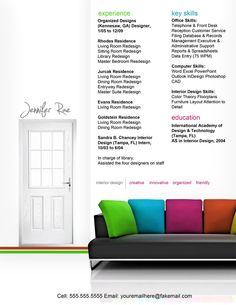 Sample resume, Interior design resume and Resume on Pinterest