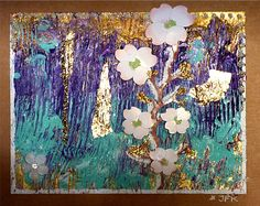 Hand made! ONLY one! Lotus Tree in 24K Leaf Gold Unique Blank Note Card colorful Acrylic painting 3D