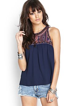 Embroidered Woven Tank | FOREVER21 - 2000087462