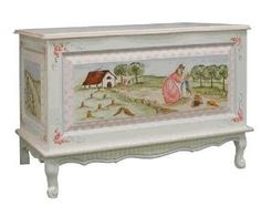 Hand Painted Enchanted Forest French Toy Chest with Crackle Motif - from www.wellappointedhouse.com