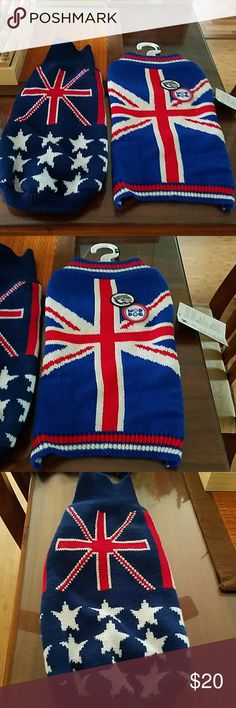 British shirt for dogs Selling 2 new sweaters for dogs. Never used and one still has tags. I was giving as a gift but realize it was too small. Size medium for th e one with the tag and the other one is size XXL but same size as the medium one.  Red white and blue in color. Harajuku Lovers Other