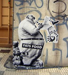 Wooster Collective: Graffiti/wheatpaste by Sir X from Gijon, Spain - great commentary on fast food and McDonalds.
