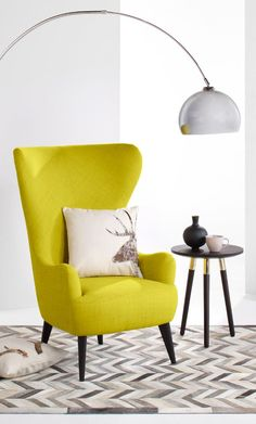 Chartreuse yellow wingback armchair, MADE.COM Time to be bold. This statement…