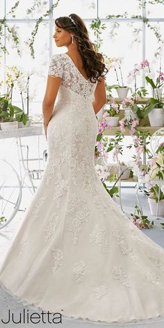 Crystal and Pearl Chandelier Beading on Net Morilee Bridal Plus Size Wedding Dress with Alençon Lace Appliqués Over Soft Satin Lace Wedding Dress, Bridal Wedding Dresses, Wedding Dress Styles, Designer Wedding Dresses, Wedding Attire, Lace Dress, Bridesmaid Dresses, Plus Size Brides, Plus Size Wedding Gowns
