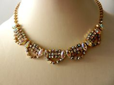 Magnificent Collier 1950  large crystals AB and by RAKcreations, $146.00