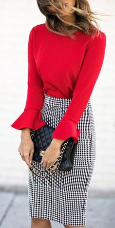 #winter #outfits  red long sleeve top and black and white houndstooth skirt